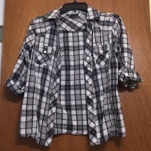 Thin black and white plaid shirt.